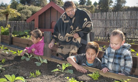 Planting vegetables in the village gardens