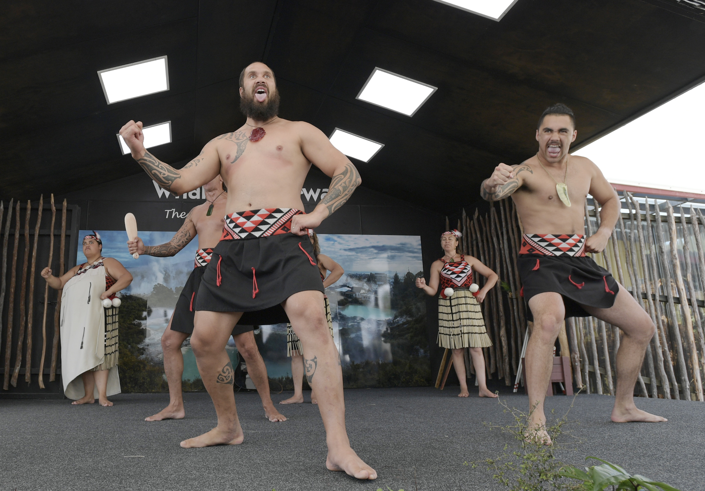 Maori warriors in traditional kapa haka