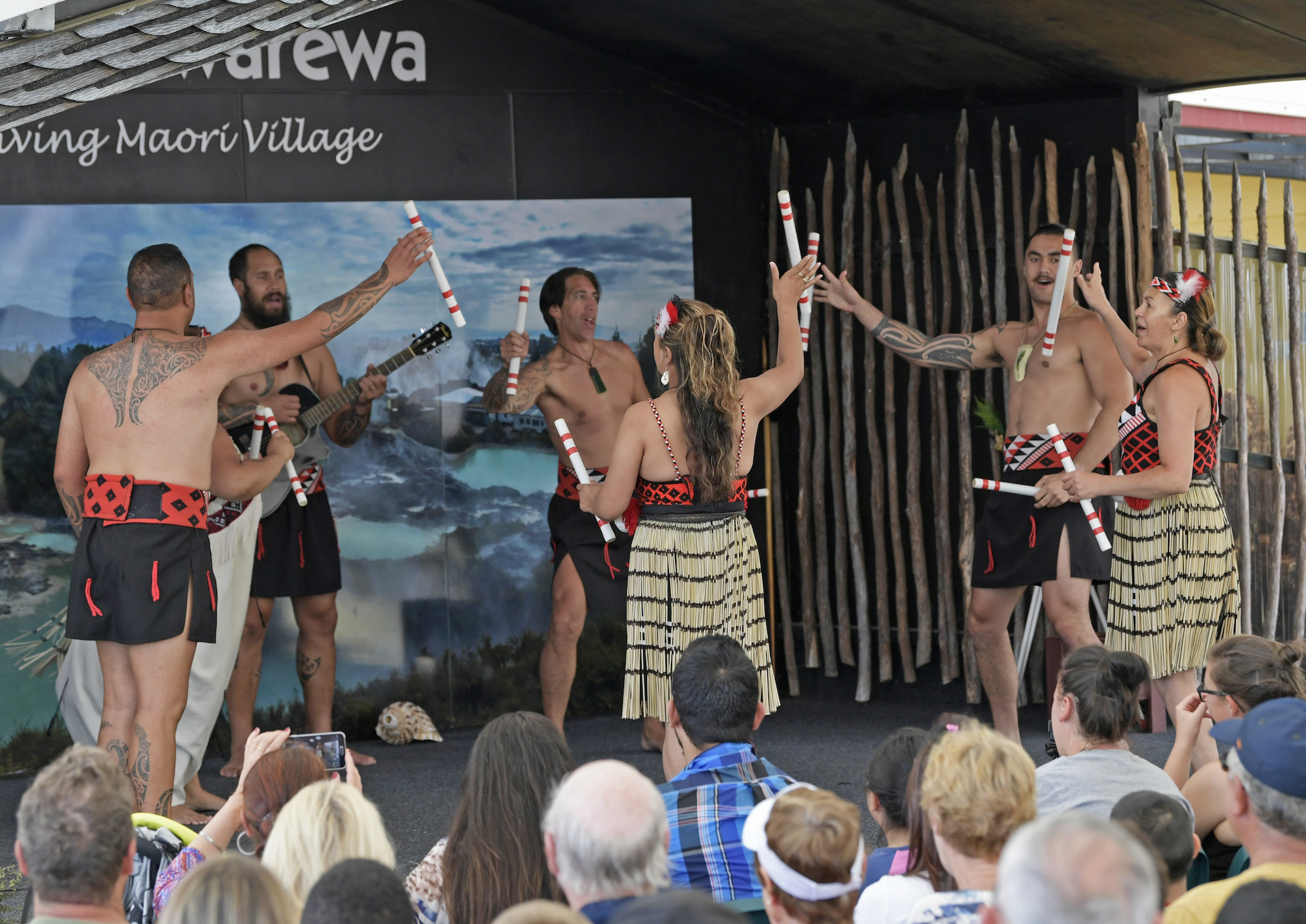 Stick games during the Whakarewarewa Cultural Performance