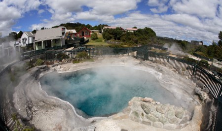 Steaming geothermal hot pools