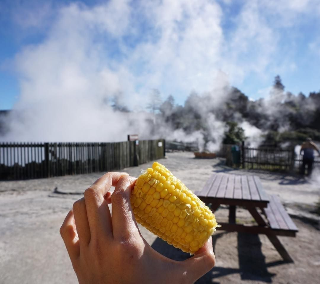 Corn cooked in the geothermal pools